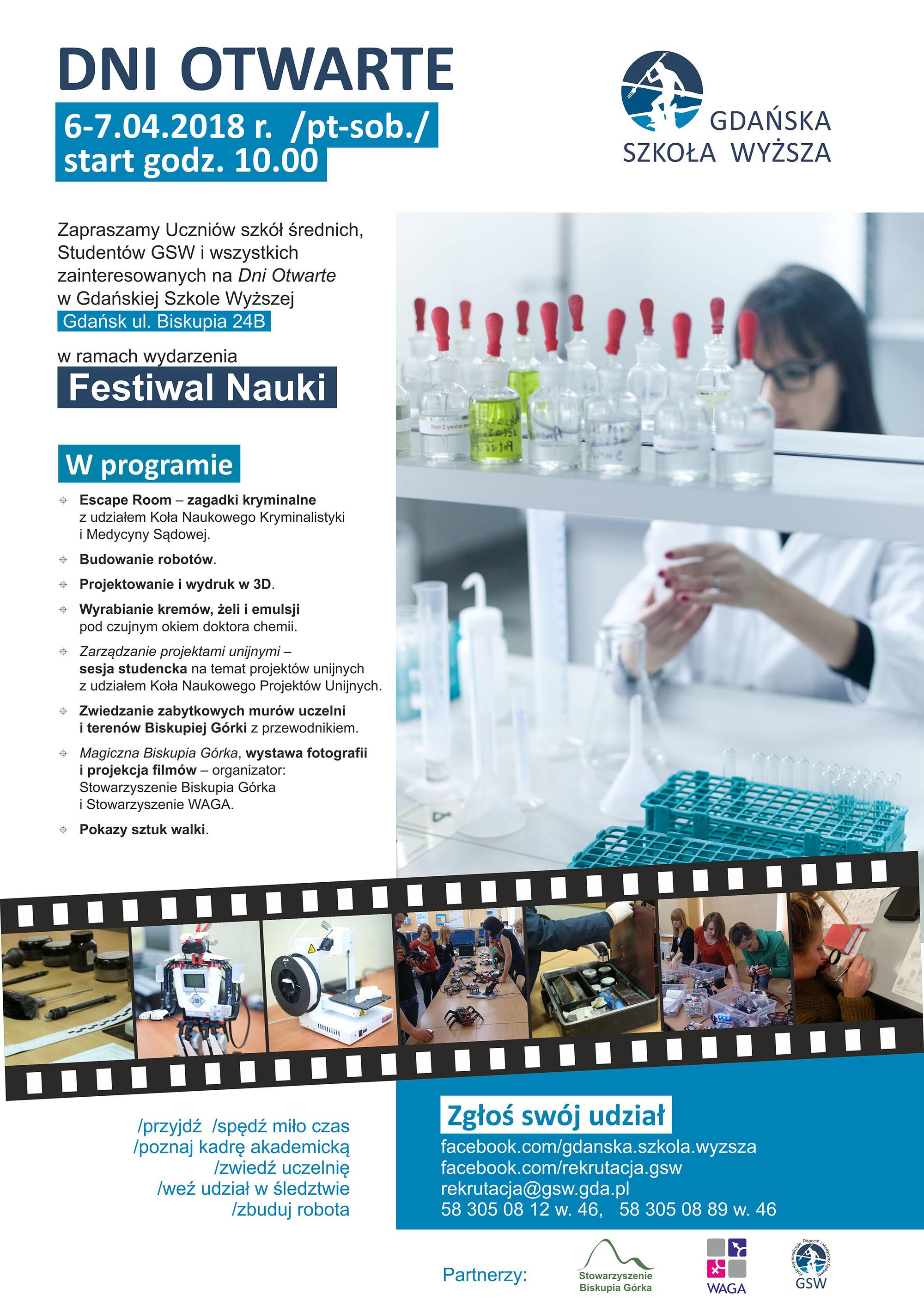 Festiwal Nauki - Dni Otwarte 06.04.2018 (plakat)